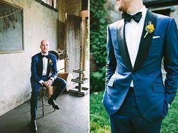 smoking bleu marine argent Promotion Nouveaux 2019 nouveaux costumes de smoking bleu marine Groomsman costumes de marié marié (veste + pantalon + cravate + gilet) M-87