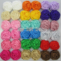 Wholesale Satin Rose Flower For Headband - Multilayer Satin Rosettes,Rose Flowers Shabby Frayed Rose Flower for Headband Hair Hair Acessories 40pcs lot 20 colors in stock MG012