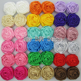 Wholesale Shabby Flowers For Headbands - Multilayer Satin Rosettes,Rose Flowers Shabby Frayed Rose Flower for Headband Hair Hair Acessories 40pcs lot 20 colors in stock MG012