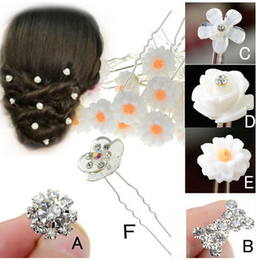 Wholesale christmas party picks - 20PCS Wedding Bridal Pearl Flower Crystal Hair Pins Clips Bridesmaid Women Hair Jewelry Free U Pick [JH03006-11*20]