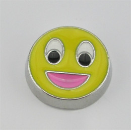 Wholesale Charms For Origami Owl - yellow color Smile Face floating charms for glass locket ;Floating locket charms fit origami owl locket