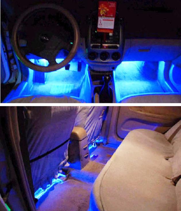 Großhandel 4 Led Farbe Weihnachten Auto Auto Interior Dash Boden Fuß ...