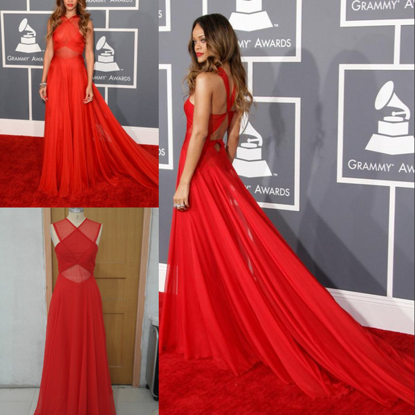 top popular Inspired by Rihanna Dresses 55th Grammy Awards Red Carpet Celebrity Dresses A Line Sheer Crisscross Chiffon Red Color Chapel Train 2019