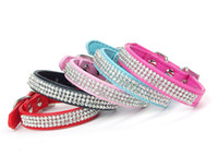 Wholesale cat collars bling - (5colors 3sizes ) New Full Rhinestone Dog Collars Leather Diamante Cat Collar Bling for small dogs hot sale