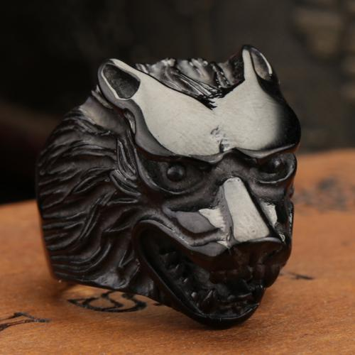 Size 8-13 Fashion Jewelry Super black Cool Wolf Rings Stainless Steel Punk Biker Man Ring Free Shipping US size