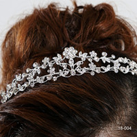 Wholesale Cheap Sterling Silver Crown - New Cheap Fashion New Style New Girls Headband Hair Clips Rhinestone Jewelry Silver Plated Crown 18004