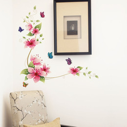 China Free Shipping DIY Pink Flower and butterfly Wall Stickers Removable WallPaper Vinyl Art Decor Home Paster Decals suppliers