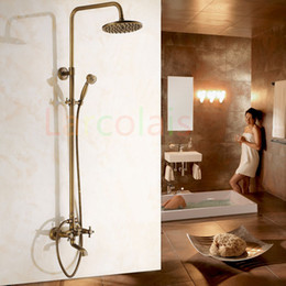 Wholesale Antique Tub Faucet Brass - Larcolais Antique Brass Bathroom Bathhouse Tub Shower Faucet with 8 Inch Shower Head + Hand Shower