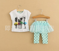 Wholesale Skirt Set Tight - Wholesale-Childrens Skirt Leggings Kids Suit Outfits Children Set Girls Lace Tights Fashion Cute Polka Dot Short Sleeve T Shirt Kids Sets