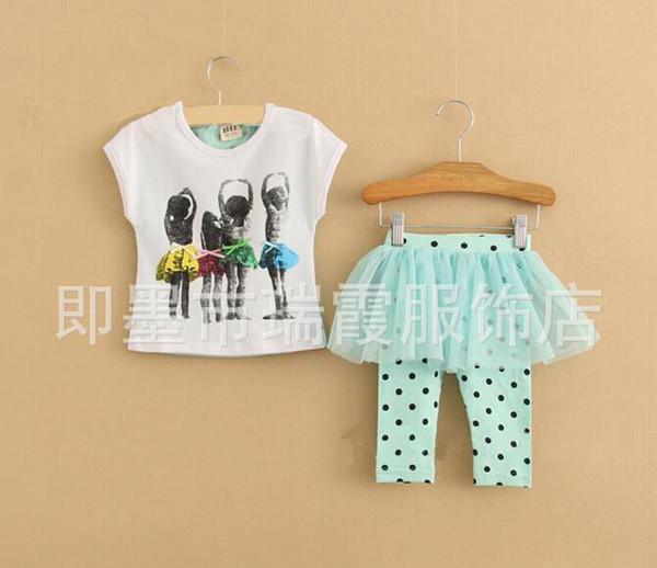 Wholesale-Childrens Skirt Leggings Kids Suit Outfits Children Set Girls Lace Tights Fashion Cute Polka Dot Short Sleeve T Shirt Kids Sets