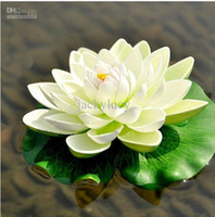 Wholesale fish display tanks - 30CM Artificial Decorations Lotus Flower DIY Craft Fish Tank Water Pool Fake Flower For Christmas Ornament Wedding Party Decoration Supplies