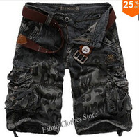 Wholesale Sport Camo Cargo Pants - New In 2014 Free Shipping Fashion Men Casual Army Cargo Combat Camo Cotton Overall Shorts Sports Pants 3Color 7Size Summer B421