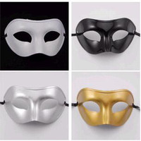 Wholesale White Sale Masquerade Mask - 2014 masquerade masks new promotional half face mask flat head man Gold and silver white and black four color optional Factory direct sale
