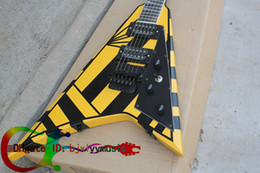 Wholesale Custom Electric Guitar Bridge - Custom Michael Sweet Flying V Stryper Black Yellow Stripes Super Rare Custom Electric Guitar Black Pickguard Tremolo Bridge Black Hardware