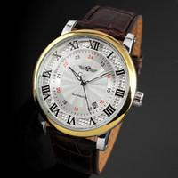 Wholesale Skeleton Automatic Wrist Watch - 2018 winner fashion casual luxury male leather business skeleton mechanical men self wind military wrist watch gift clock