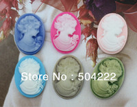 Wholesale Bow Cameo - set of 100pcs big Victorian Lady Cameo decoden Cabochon assorted Oval 18x25mm scrapbook, hair bow and flower centers