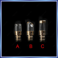 Wholesale Electronic Cigarette Plating - Electronic Cigarette 510 Glass Drip Tips Glod Plated Version Large Caliber Glass Drip tip Fit EGO Atomizers Mechanical Clearomizer Mouthpiec