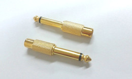 Wholesale gold plated rca jacks - Gold plated 6.35mm (1 4 Inch) Mono Plug to RCA Jack connector