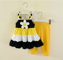 Wholesale Big Leg Pants - Wholesale-Girls 2pc Set Infant Yellow Vest Tutu Skirt & Baby Pants Girl Ruffle Big Flower Dress Sets dress+legging 2 pieces 6s l