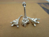 Wholesale Lovely Eiffel - 200pcs 8x23mm Silver Plated Lovely Mini 3D Eiffel Tower Charm Pendant Q002