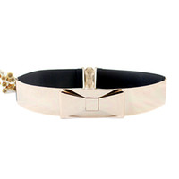 Wholesale Elastic Belt Mirror - Sexy Style BowKnot Design Fashion Gold Color Alloy Mirror Elastic Belts For Women