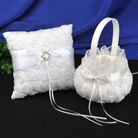 Wholesale Set Wedding Pillow Basket - Wedding Party white 3D roses Ring Pillows & Flower Baskets Wedding Supplies ring pillow and girl's folwer baskets