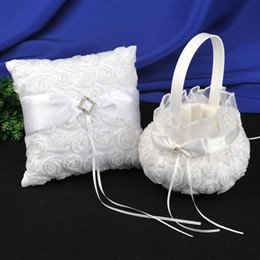 Wholesale Ring Basket - Wedding Party white 3D roses Ring Pillows & Flower Baskets Wedding Supplies ring pillow and girl's folwer baskets