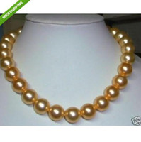 Mer du sud Prix-AAA + Gold 16mm South Sea Shell Beads Perle Collier 18