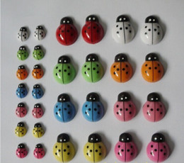 Wholesale Ladybug Wood Stickers - 100PCS LOT.Colorful mini wood ladybug stickers,3D stickers,Easter decoration,Wall stickers,Home decoration,Kids toys.1.3*0.9cm.new top