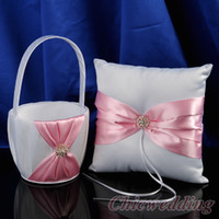 Wholesale Diamond Ring Pillow - Wedding Favors Wedding Party white with pink diamond Ring Pillows & Flower Baskets Wedding Supplies ring pillow and girl's folwer baskets