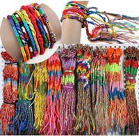 Wholesale Chain Bracelets Braided Cords - 72pcs BULK jewelry lots Colorful Braid Friendship Cords Strand Bracelet For Women Girls Charm Jewelry Free [B609M*72]
