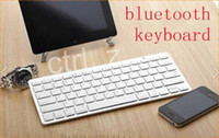 Wholesale Iphone White Wireless Keyboard - Bluetooth Wireless White Keyboard for PC Macbook Mac ipad Air 2 iphone 5S 5G 4S 6 PLUS ipad mini 3 with retail box
