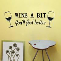 Wholesale Wine Decal Stickers - Free Shipping Wine A Bit Vinyl Wall Stickers Removeable Home Room Kitchen Art Mural Decal Decor