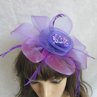 Wholesale Silk Flower Bow Clip - Hot Sale !New Arrival Bow Feather Hair Clip Mini Top Hat Fascinator Hair Accessories Party Cocktail Women Hair Accessories 18034