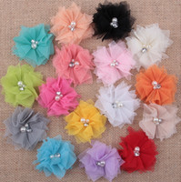 Wholesale Diy Flower Hair Band - Wholesale Mixed 16 Colors DIY Flowers for Baby Headband Girls cute Flower with rhinestone for Hair bands Hair Accessory DIY Free Shipping