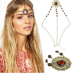Wholesale Lucite Plastic Jewelry Pieces - Brand New Women Fashion Metal Rhinestone Head Chain Jewelry Headband Head Piece Hair band Free Shipping[JH04021*1]