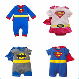 Wholesale Size One Summer Clothes - Four Styles Baby One-Piece baby Rompers boys girls Batman style Romper Super Girl Rompers Batman Clothes