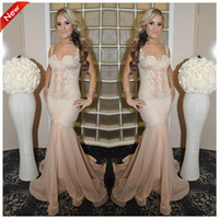 Wholesale Sheer Straps - Sexy 2015 Hot Selling Sheer Straps Sleeveless Mermaid Ruched Court Train Lace Organza Peral Pink Evening Dresses Party Red Carpet Dresses