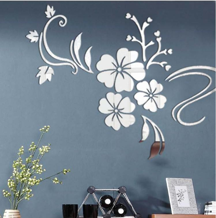 Hibiscus Flowers Home Decoration Crystal 3D Wall Stickers Decoration  Supplies Flower Acrylic Mirror Wall Stickers