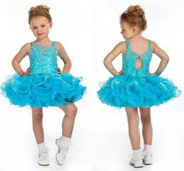 Wholesale Cute Gowns For Prom - Lovely Blue Little Girls Pageant Dresses Cupcake Cute Prom Dresses for Little Girl Short Mini Kids Dresses 2015 New Arrival Custom Made II35