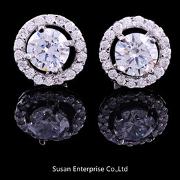 Wholesale Wedding Flower Earrings - Luxury Elegant Wholesale - 2014 NEW! Crystal 925 sterling Silver White GOLD Crown Wedding Stud Earring for women
