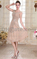 Wholesale Chiffon Lace Dress Tea Length - 2015 Real Pictures New Style V-neck A-line Gown Fashion Beaded Chiffon Mother Of The Bride Dresses v-neck zipper tea length hot sale cheap