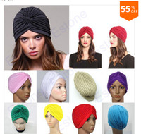 Wholesale Hot Sale Stretchy Turban Head Wrap Band Sleep Hat Chemo Bandana Hijab Pleated Indian Cap Colors