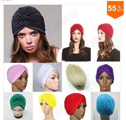 Wholesale Wholesale Chemo Hats - Hot Sale Stretchy Turban Head Wrap Band Sleep Hat Chemo Bandana Hijab Pleated Indian Cap 9Colors