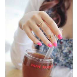 Wholesale Double Finger Chain Rings - Peaceful Antiwar Shiny Cute Metal Knuckle Tassel Chain Double Finger Ring Fashion Women's Jewelry