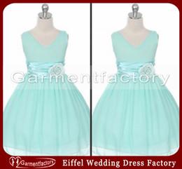 Wholesale Dress Making Pins - Mint Chiffon Flower Girl Dresses 2014 Cheap V-neck A-line Floor Length Pin-on Flower Kids Princess Dress