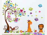 Wholesale Large Lion - Free Shipping Large Tree with Lion Giraffe Owls DIY Wall Decal Nursery Room Wall Sticker