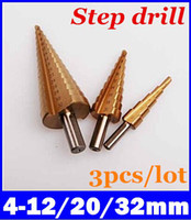 Wholesale Hole Bit - New 3Pcs HSS steel Large Step Cone Drill Titanium Bit Set Step Bit Tool Hole 4-12 20 32mm top sale free shipping