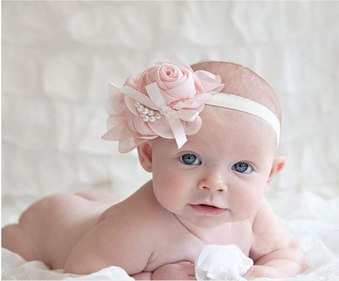 새로운 아기 장미 꽃 머리띠 소녀 쉬폰 꽃 모자 머리띠 어린이 진주 활 머리 장식 머리띠 어린이 헤어 액세서리
