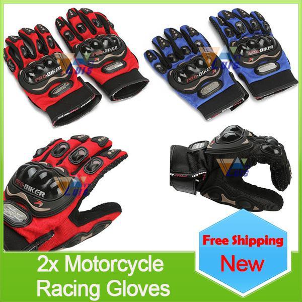 Nuevo 2015 de Pro-Biker Armored Motorcycle Sport Riding Racing Guantes de protección Azul / Rojo / Negro M / L / XL Motocross Moto Guantes